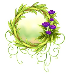 A round green border with violet flowers vector