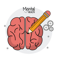 Mental health brain human pencil idea vector