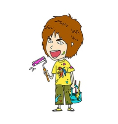 Close-up of boy holding brush vector