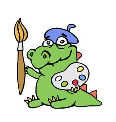 Cute dinosaur artist painter vector