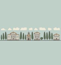 Seamless horizontal ornament old european city vector