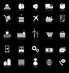 Supply chain icons with reflect on black vector