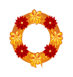 Christmas wearing straw wreath with poinsettia vector
