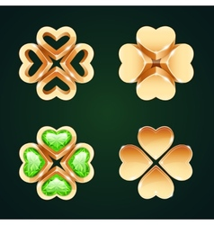 Golden four-leaf clovers set1 vector