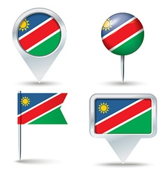 Map pins with flag of namibia vector