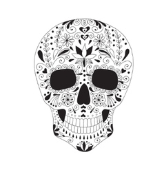 Skull with floral ornament vector