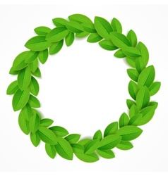 Green leaves wreath vector