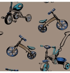 Seamless pattern hand drawn baby scooters and vector