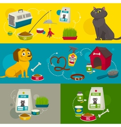 Pet care object compositions cartoon  cat dog food vector