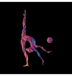 Creative silhouette of gymnastic girl art vector