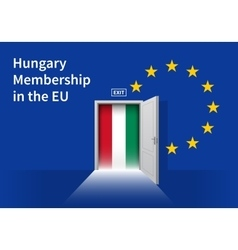 European union flag wall with hungary flag door vector