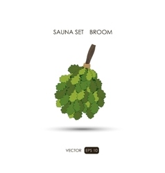 Broom sauna accessories on a white background vector