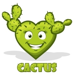 Smiley cactus in the shape of heart vector