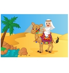 Arab boy riding camel vector image vector image