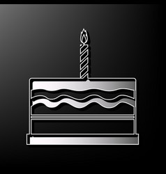 Birthday cake sign gray 3d printed icon vector