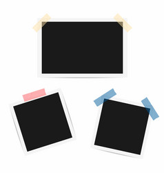 blank photo frame retro frames with duct tape vector image vector image
