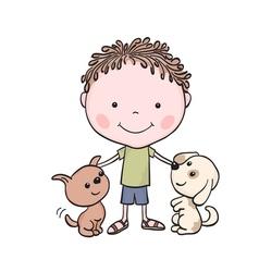 boy puppies 1 vector image vector image