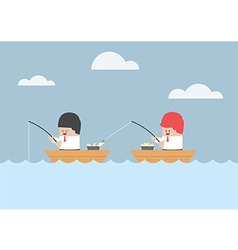 Businessman stealing fish from his friend vector image vector image