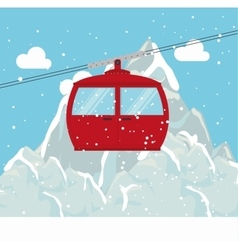 Cable way snow mountain design vector
