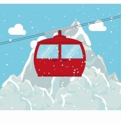cable way snow mountain design vector image