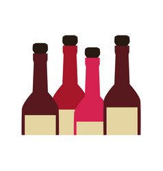 color silhouette with set of liquor bottles vector image