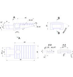 Engineering drawing of cog die vector
