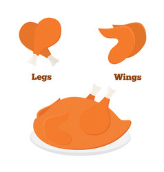 Fried chicken parts - leg wings tasty fast food vector