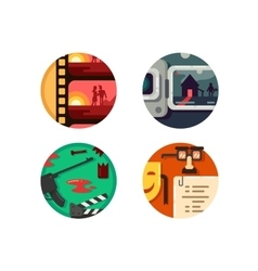Genre cinema set icons vector