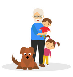 Grandfather with grandchildren vector