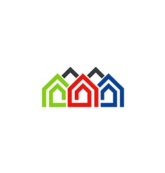 houses line abstract symbol logo vector image vector image