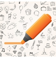 Orange marker with set of doodle icons vector image vector image