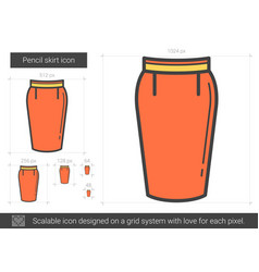 Pencil skirt line icon vector