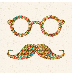 retro with hipster glasses mustaches vector image vector image
