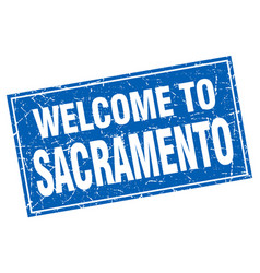 Sacramento blue square grunge welcome to stamp vector