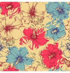Tropical flowers seamless pattern hibiscus vector
