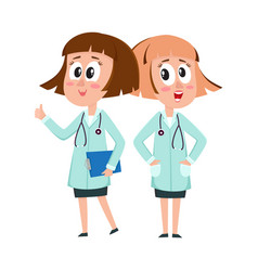 two comic woman doctor characters thumb up hands vector image vector image