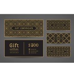 Vintage gift certificate set vector