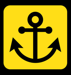 yellow black information sign - anchor icon vector image