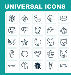 Zoology icons set collection of grizzly duck vector