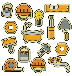 House repair renovation line art thin icons vector
