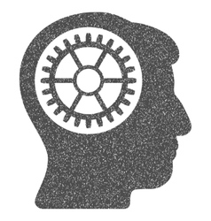 Head cogwheel grainy texture icon vector