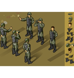 isometric set of military people standing vector image