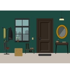 Hallway interior with furniture vector