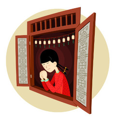 Chinese girl praying in the window vector