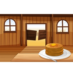 A plate with pancakes vector image