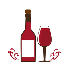 Wine bottle with cork and glass cup vector