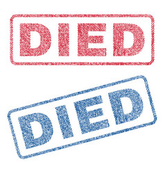 Died textile stamps vector