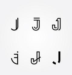 initial letter j logo typo pack vector image