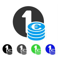 Euro coin column flat icon vector