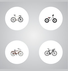 Realistic exercise riding road velocity journey vector